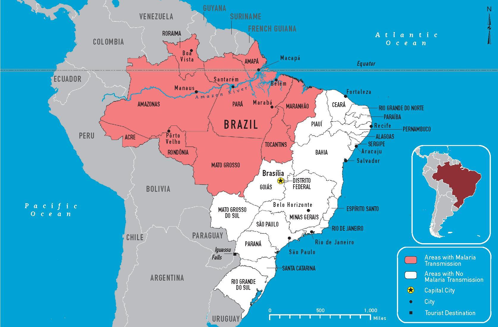 brasilien malaria karte Brasilien malaria anzeigen   Malaria Karte von Brasilien (South