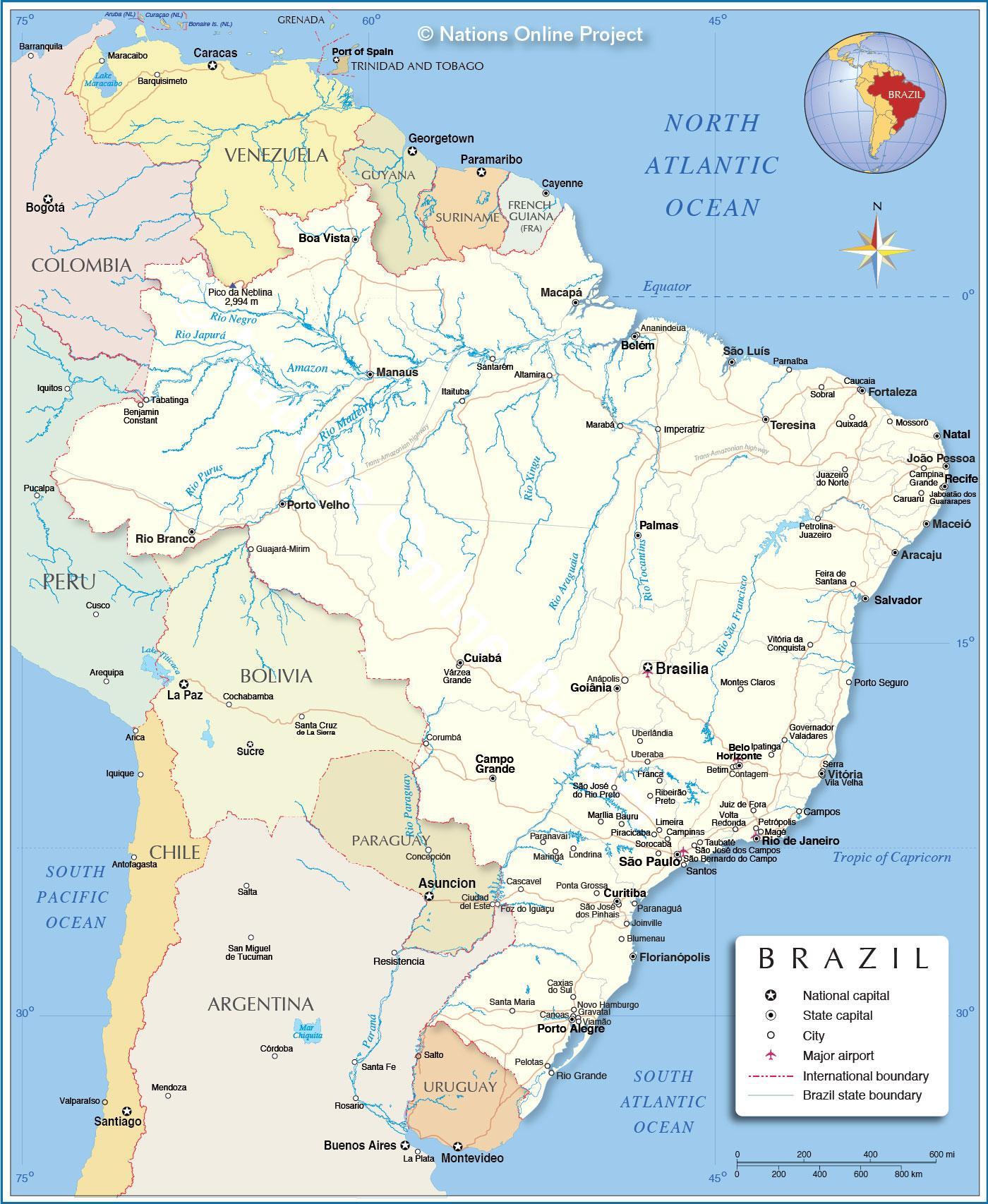 Brasilien River Karte Landkarte Von Brasilien Rivers South