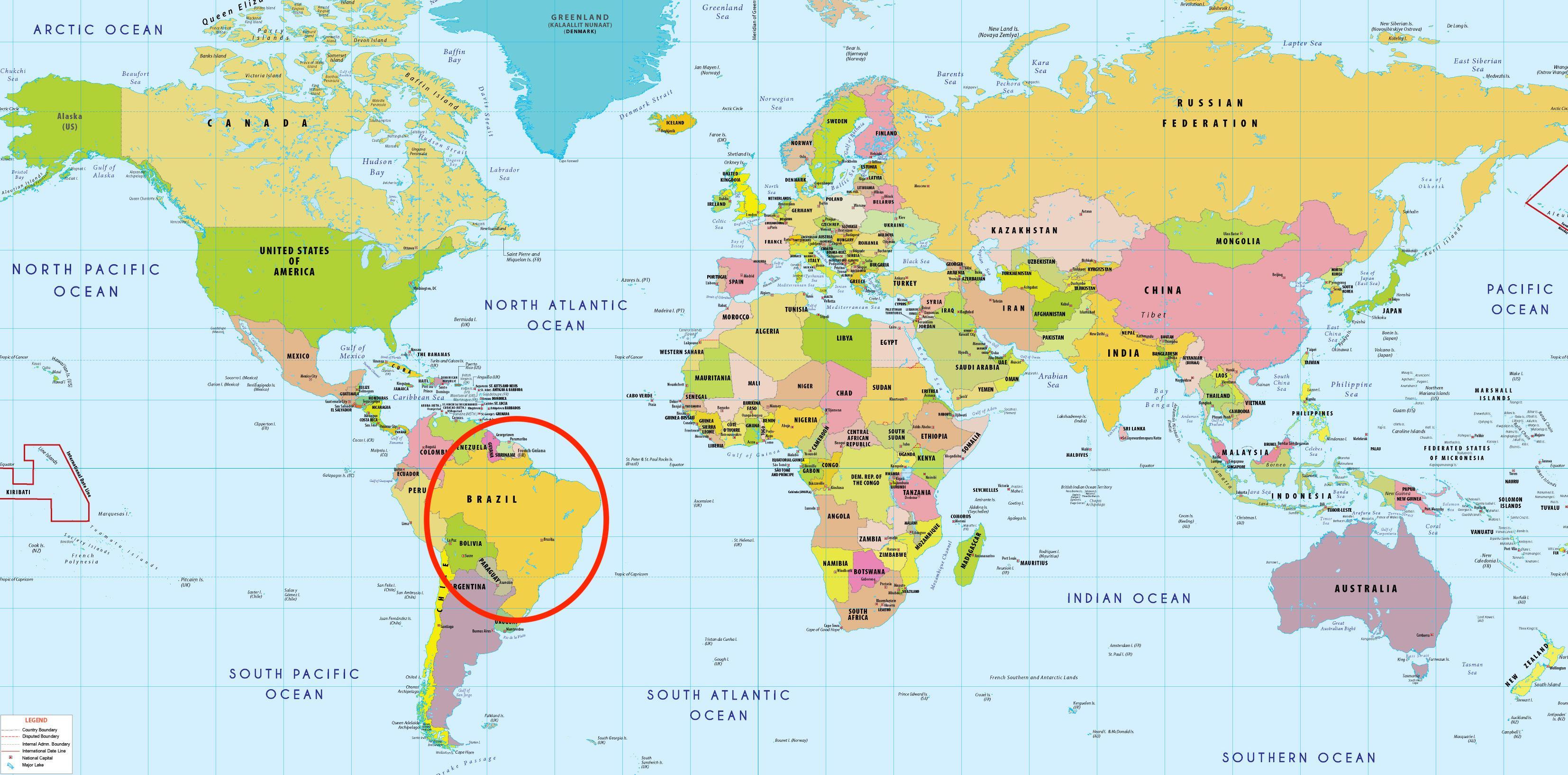 Brasilien Karte Welt.Brasilien Welt Karte Brasilien In World Map South America