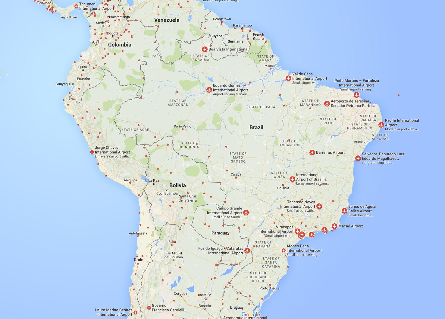 flughäfen brasilien karte Die Flughäfen Karte von Brasilien   Karte von Brasilien Flughäfen