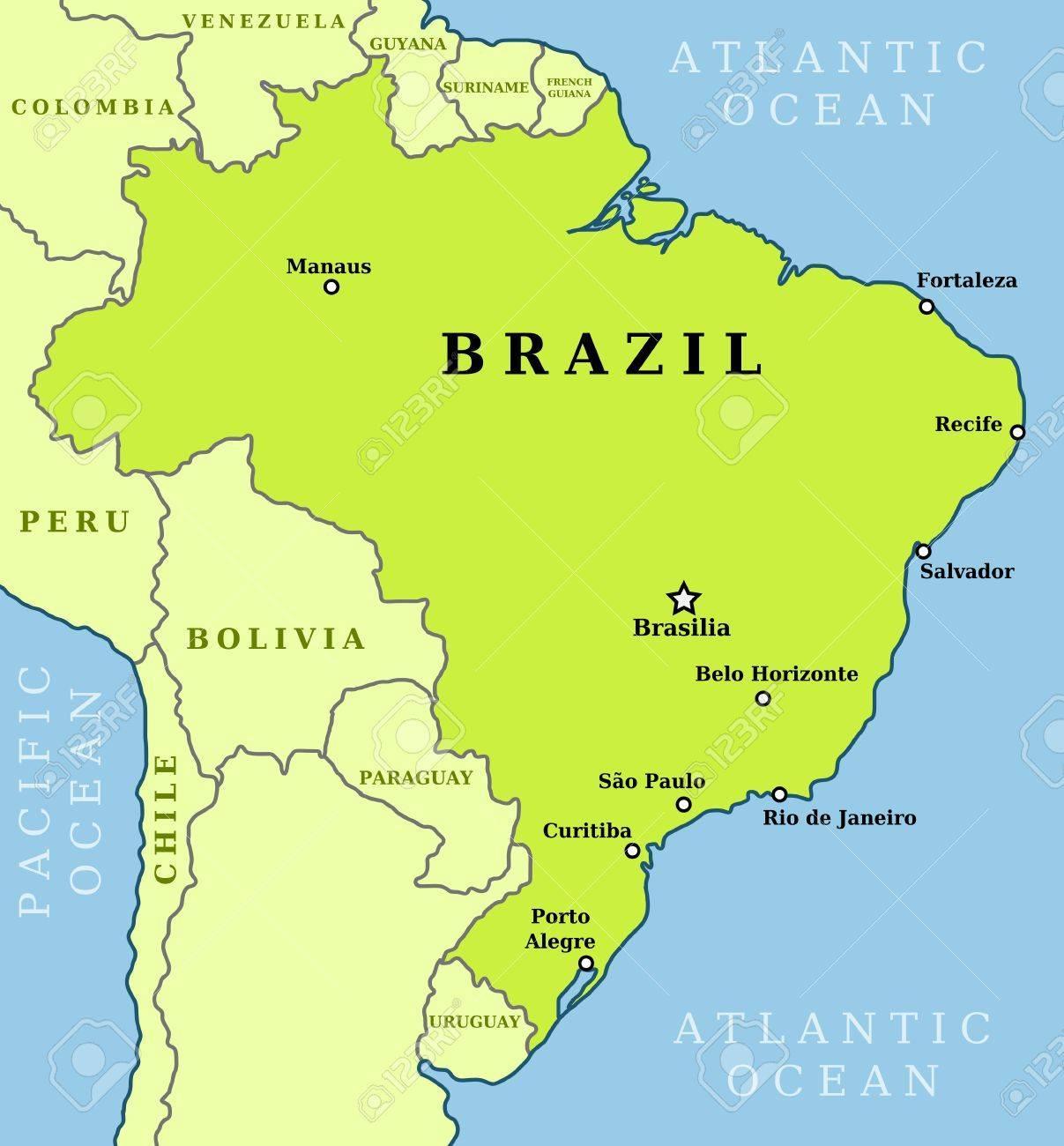 karte brasilien städte Karte von Brasilien Städten   Brasilien Karte der Städte (South