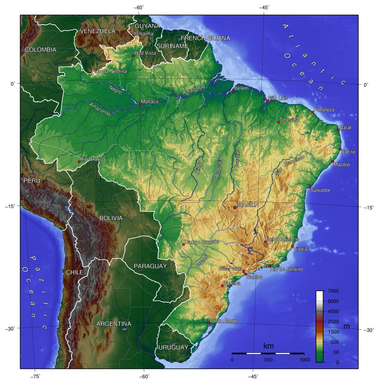 physische karte brasilien Physische Landkarte von Brasilien   physische Karte Brasilien
