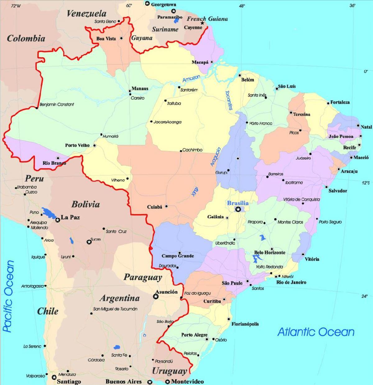 brasilien karte städte Karte von Brasilien mit den Städten   Karte der Städte in