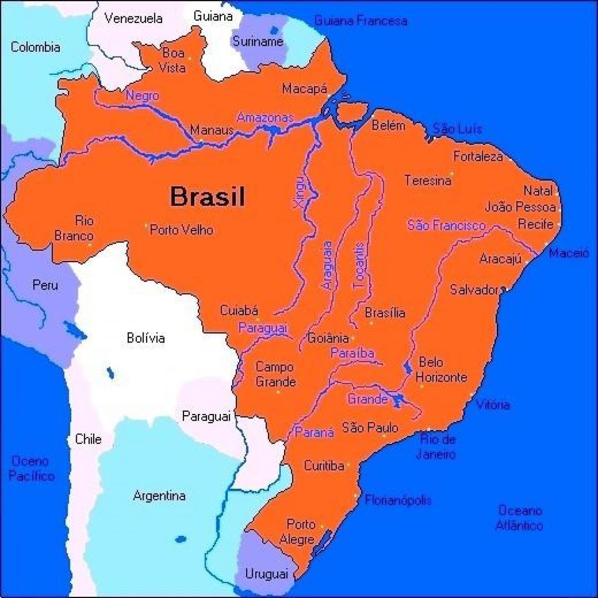 Brasilien Flusse Karte Karte Von Brasilien Rivers South America