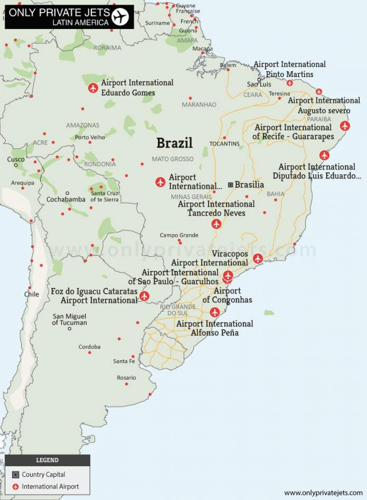 flughäfen brasilien karte Brasilien Flughäfen Karte   Flughäfen Karte von Brasilien (South