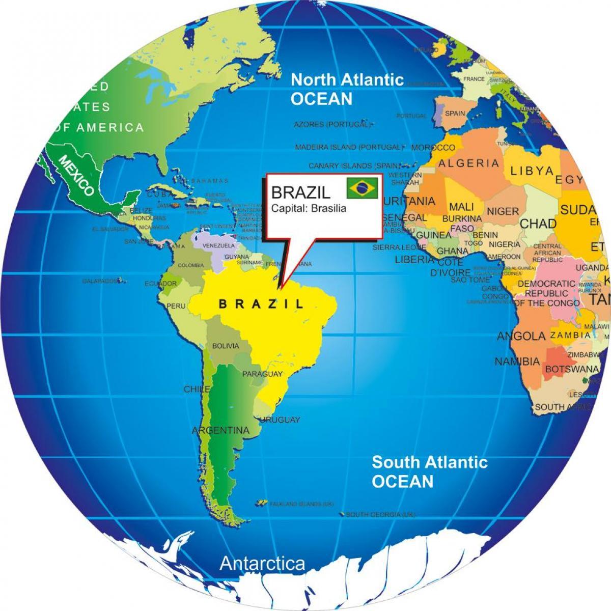 Brasilien Karte Welt.Welt Karte Von Brasilien Weltkarte Mit Brasilien South America